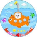 Gullig katt på ubåt under vatten Royaltyfria Bilder