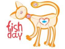 Gullig katt som älskar för att äta fisken Royaltyfria Foton