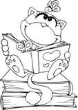 Gullig katt som läser en bok Arkivbilder