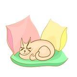 Gullig katt som ligger på kuddar Vektortecknad filmbild Royaltyfri Bild