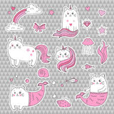 Gullig kattenhörning, sjöjungfru Uppsättning av dekorativa beståndsdelar, moderiktiga lappar, klistermärkear Royaltyfri Bild
