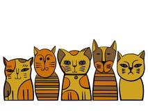 Gullig kattfamilj den främmande tecknad filmkatten flyr illustrationtakvektorn Royaltyfri Bild