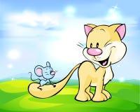Gullig kattlek med musen Royaltyfri Bild