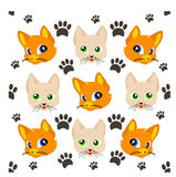 Gullig kattmodell vektor illustrationer