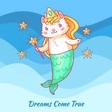 Gullig kattsjöjungfru Tecknad filmenhörningkatt Dewams kommer riktigt Affisch för flickamotivationvektor vektor illustrationer