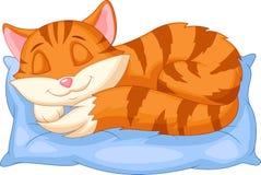 Gullig katttecknad film som sover på en kudde Royaltyfria Bilder