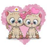 Gullig kattunge för tecknad film två Arkivfoton