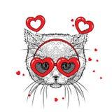 Gullig kattunge i tillbehör med hjärtor Vektorillustration för en vykort eller en affisch, tryck för kläder valentin för dag s stock illustrationer