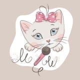 gullig kattunge little royaltyfri illustrationer