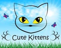 Gullig kattungeshowhemhjälp Cat And Beautiful vektor illustrationer