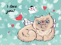 Gullig kattvektor, gulligt katthälsningkort, räkningsdesignen för nytt år och jul, barn royaltyfri illustrationer