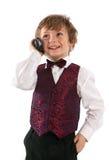 gullig klädd over bärbar radio för pojke som talar upp Royaltyfria Bilder