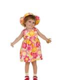 gullig klänningflicka little sommar Royaltyfri Fotografi