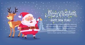 Gullig klocka för tecknad filmSanta Claus ringning med banret för illustration för vektor för glad jul för ren horisontal royaltyfri illustrationer