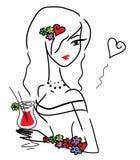 Gullig klotterflicka med drinken Royaltyfria Bilder