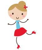 Gullig klotterrulle som åker skridskor flickan Royaltyfri Fotografi
