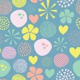 Gullig klottervektormodell med blommor, prickar, hjärtor i rosa, gult, grönt som är blåa seamless abstrakt bakgrund tecknad hand stock illustrationer