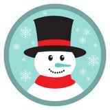 Gullig knapp för snögubbehuvudsymbol Royaltyfri Bild
