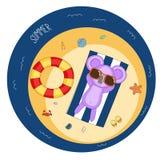 Gullig koala på stranden vektor illustrationer