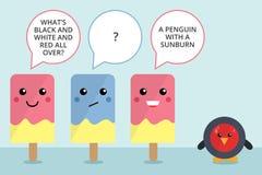 Gullig komisk remsa för isglass- och pingvintecken Royaltyfria Foton