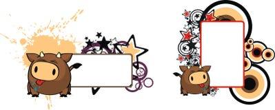 Gullig kopia space1 för stil för tjurtecknad filmboll royaltyfri illustrationer