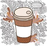 Gullig kopp för tecknad filmklotterkaffe Arkivfoton