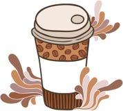 Gullig kopp för tecknad filmklotterkaffe Arkivbild