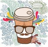 Gullig kopp för tecknad filmklotterkaffe. Royaltyfria Foton