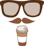 Gullig kopp för tecknad filmklotterkaffe. Arkivbild