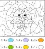 Gullig korpsvart gröngöling Färg vid den bildande leken för nummer för ungar Arkivbild