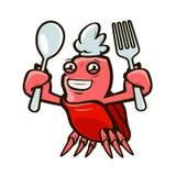 Gullig krabba som rymmer en gaffel och en sked Havs- tecknad filmvektorillustration stock illustrationer