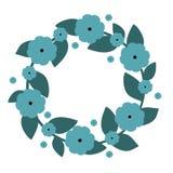 Gullig krans med blåa blommor Vektorkrans också vektor för coreldrawillustration Royaltyfri Foto