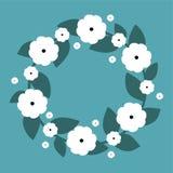 Gullig krans med vita blommor Vektorkrans Royaltyfri Foto
