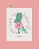 Gullig krokodilflicka i klänning Arkivbilder