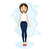 gullig kvinna i jeans på en blå bakgrund Tecknad filmlägenhetdesign Royaltyfri Fotografi