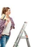 gullig kvinnligmålarfärgmålare som är klar till Royaltyfri Foto