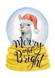 Gullig lama i jultomtenhatt inom illustration för glad jul för juljordklotvattenfärg hand dragen Arkivbilder