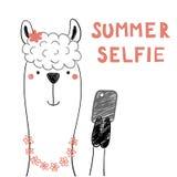 Gullig lama med en smart telefon royaltyfri illustrationer