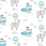 Gullig lamaflygmodell Textiltorkdukeillustrationen med pilot- alpaca med hoppa fallskärm Barnsligt tryck för tyg, t-skjorta, affi royaltyfri illustrationer