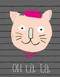 Gullig le franska Cat Vector Illustration Dragen design för Grunge barn- hand vektor illustrationer