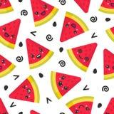 Gullig le vattenmelon, sömlös modell för vektor på vit bakgrund stock illustrationer