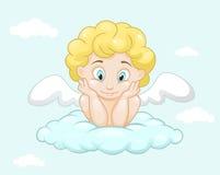 Gullig liten ängel på molnet Arkivfoto