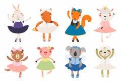 Gullig liten djurballerinauppsättning stock illustrationer
