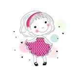 Gullig liten flicka för tecknad film Arkivbilder