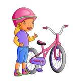 Gullig liten flicka för tecknad film med cykeln Royaltyfri Bild