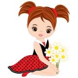 Gullig liten flicka för vektor med blommor stock illustrationer