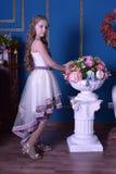 Gullig liten flicka i prinsessaklänning Arkivbild