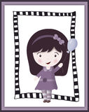 Gullig liten flicka i ramen - urklippsbokkort Arkivfoto