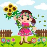 Gullig liten flicka i sommartid Arkivfoton