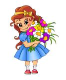 Gullig liten flicka med buketten Royaltyfri Foto
